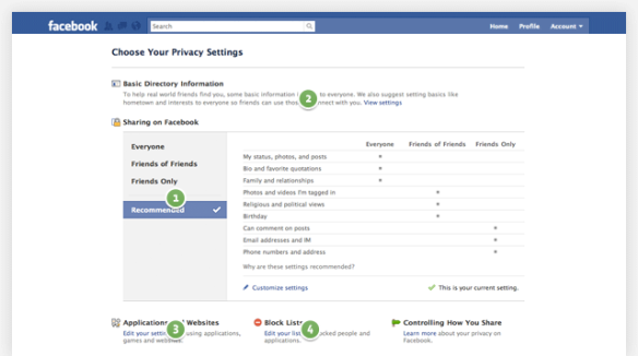 Neue  Facebook Privacy Settings